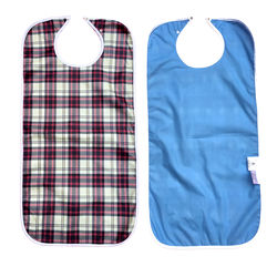 Red Tartan Waterproof Adult Bib / Clothing Protector